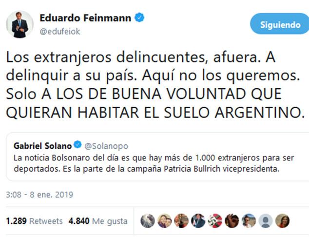 eduardo-feimann-tuit-extranjeros-afuera-completo